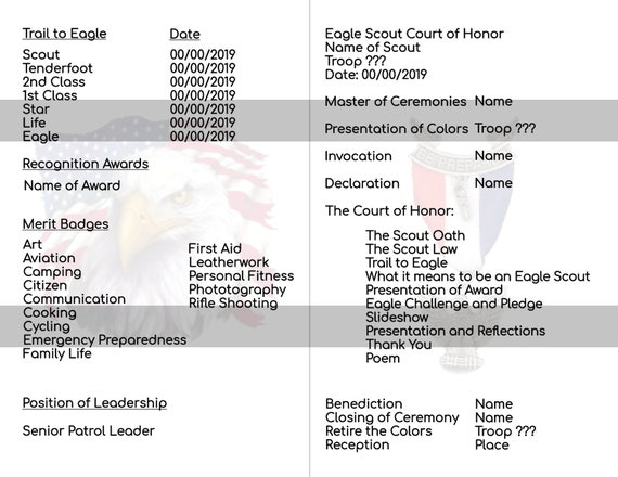 Court of Honor Eagle Scout Program Eagle Scout Program Instant Download,Boy  Scout Eagle Scout Court of Honor Printable Announcement EDITABLE