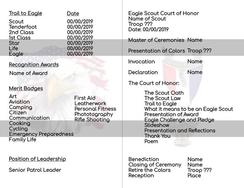 EDITABLE Eagle Scout Court of Honor Program Eagle Scout Program Instant  Download,Boy Scout Eagle Scout Court of Honor Printable Announcement
