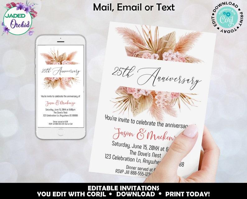 Editable Anniversary Party Invitation Pampas Grass Anniversary Invitation Any Year Wedding Anniversary Invitation Anniversary Invite