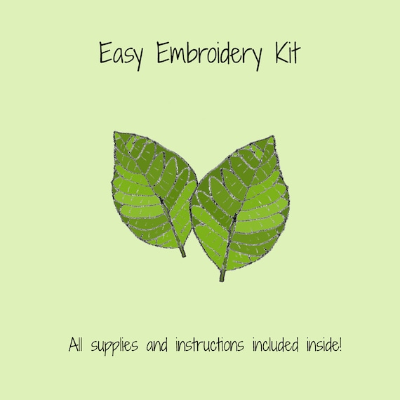 Leaves Embroidery Kit Thread Needle And Instructions Etsy