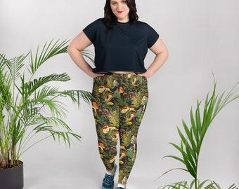 bafba620eac95 Plus size - Mushrooms leggings for nerd botanist gift, woodland pattern  leggings, workout pants, yoga barre pants