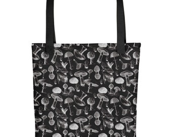 74b87188b804 Mushroom tote bag, mushroom bag, mushroom and forest forager gift