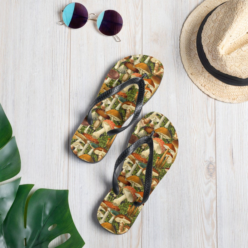 6788bba7d6c57 Mushroom flip flops!!! Shoes for the naturalist, sandals for the nature  nerd, thongs for the forager mushroom hunter! Proud nature geek!