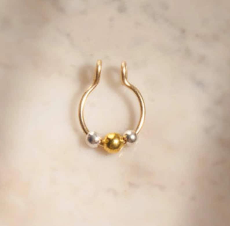 Nose Ring,14k Gold Beads,Fake Septum Ring,Tribal Septum Ring,Septum Jewelry,Fake Septum Piercing,Gold Septum Ring,Septum,Indian Nose Stud