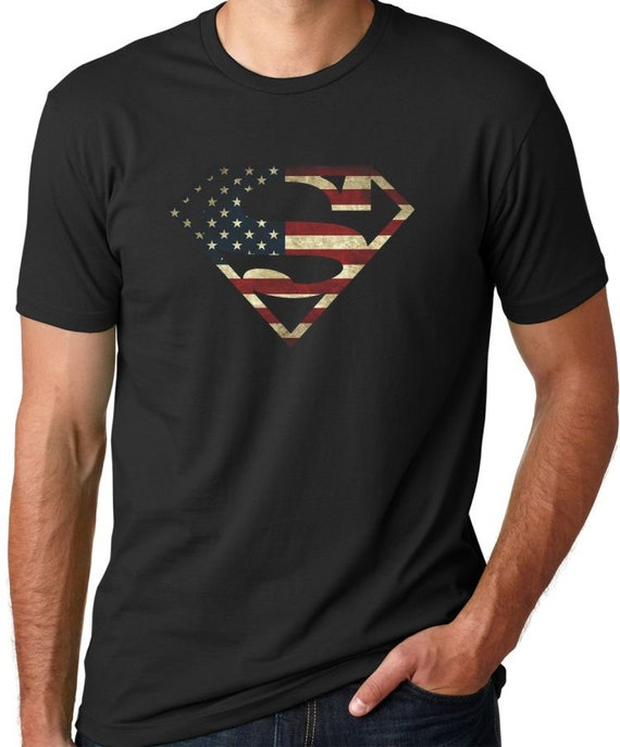 a6197fafb44 Superman American Flag Men s T-Shirt