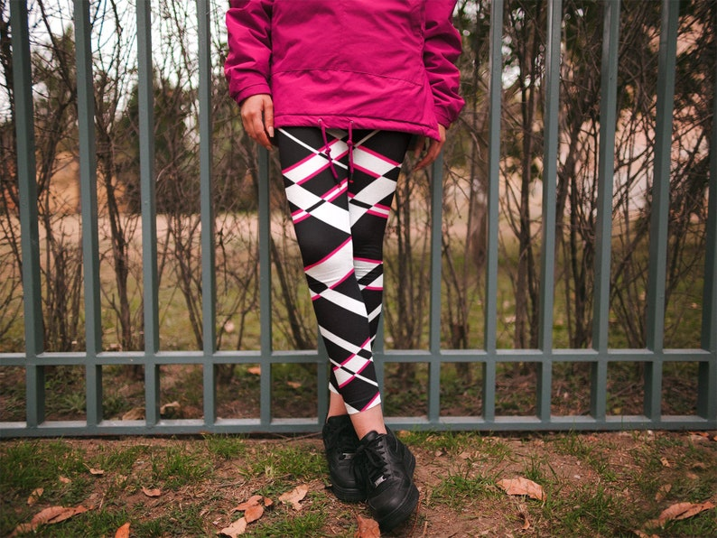 1c0a96c0e7553 White Black and Pink Leggings Festival Leggings Workout | Etsy