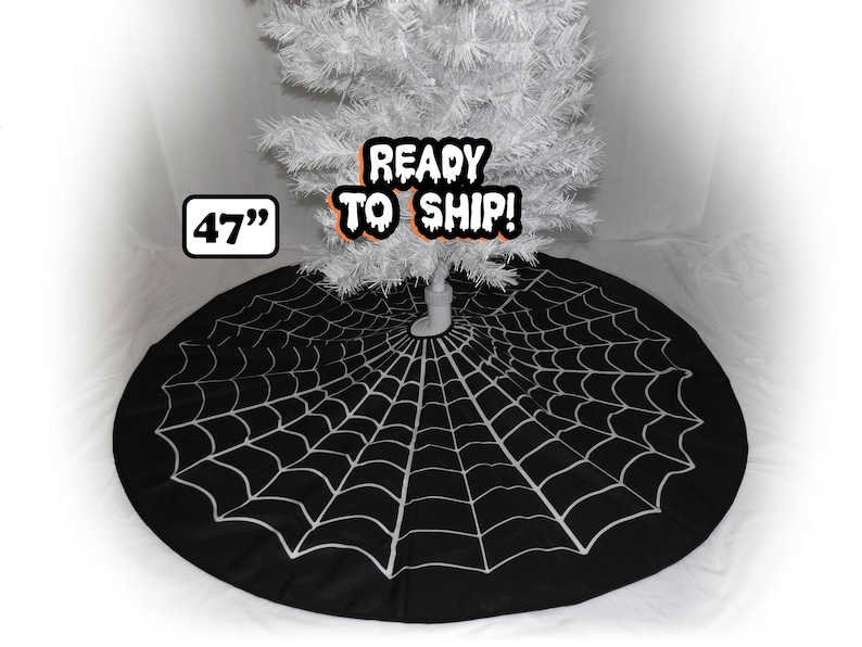 Spiderweb Tree Skirt Christmas Halloween Witches Goth Home image 1