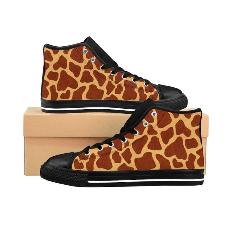 Womens Giraffe Print Sneakers Safari High Top Shoes Jungle Chic Footwear Cute Clothing Gift Ideas Animal Lover Eighties Retro Fashion Outfit