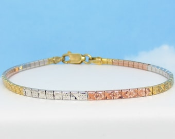 Made in Italy  323125 Tri Color Yellow Gold Rose Gold White Gold Riccio 8 5mm Wide Gold Plated 925 Sterling Silver Riccio Bracelet