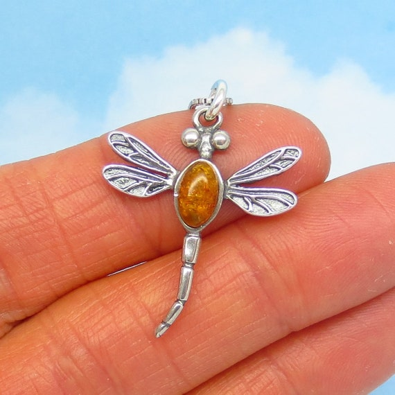 Amber Dragonfly Pendant Necklace Baltic Amber Dragonfly Pendant Sterling Silver Dragonfly Pendant Sterling Silver Pendant Dragonfly Pendant