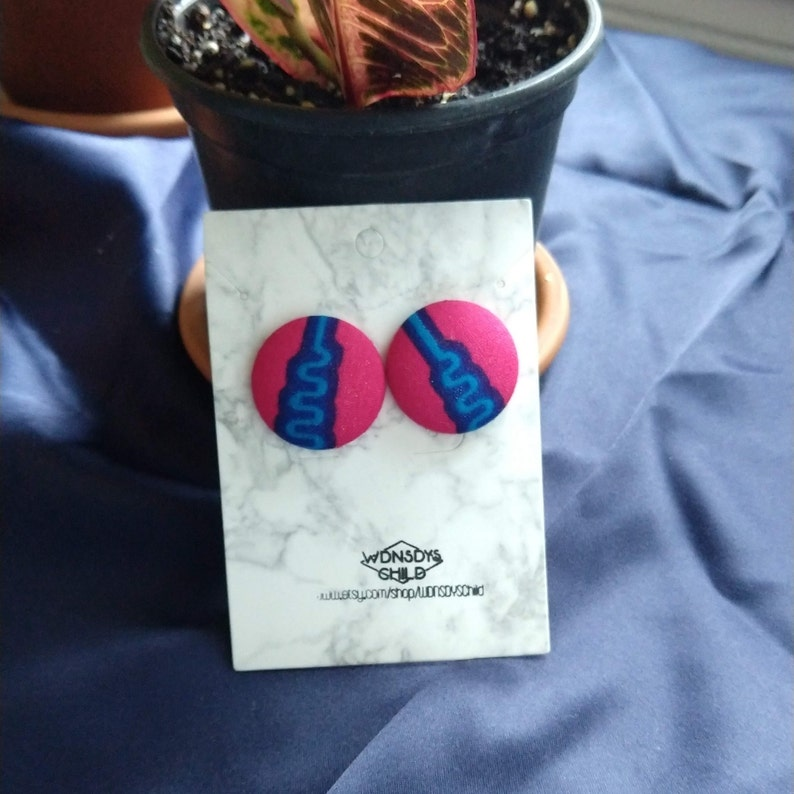 Blue Squiggle Earrings