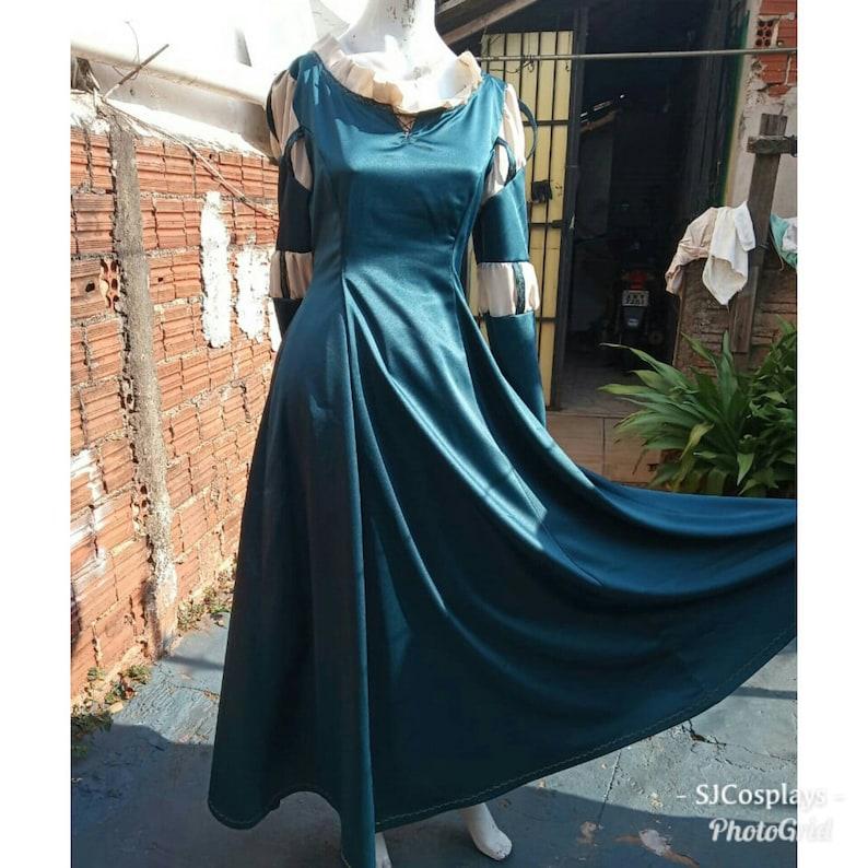 Cosplay Merida Brave dress adult+clock costume