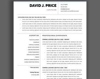 executive resume templates etsy