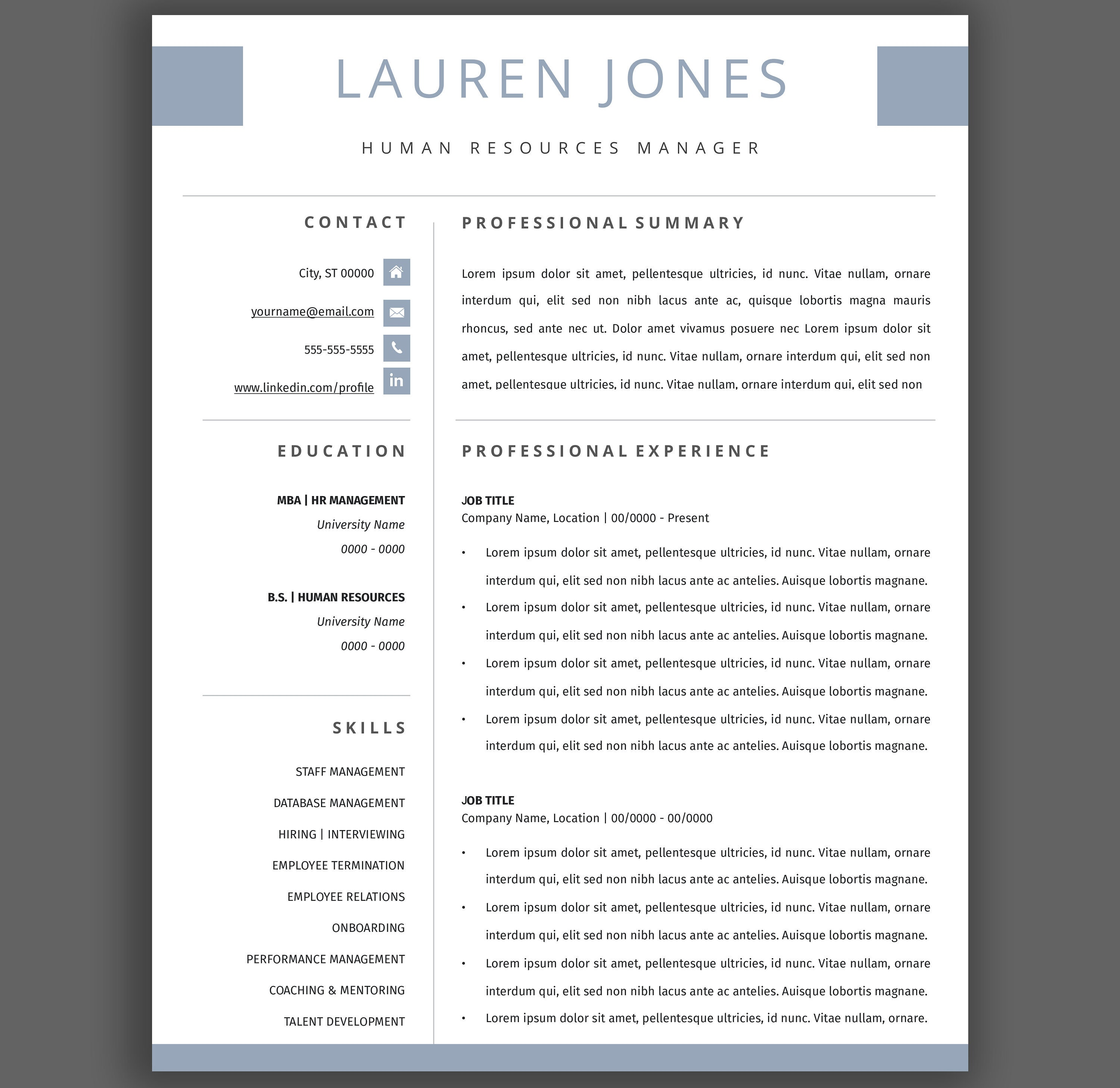Professional Resume Template, 2 Page Resume, For Apple Pages Word