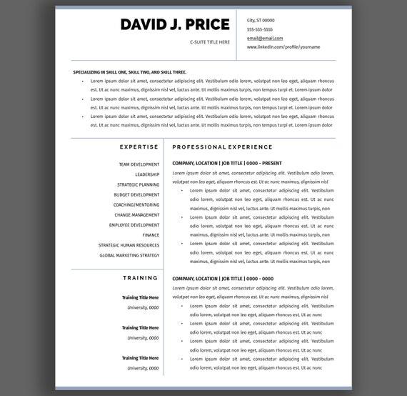 Executive Level Resume Template C Suite Curriculum Vitae