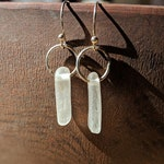Sterling Silver Sea Glass Earrings, sea glass found on the California coast