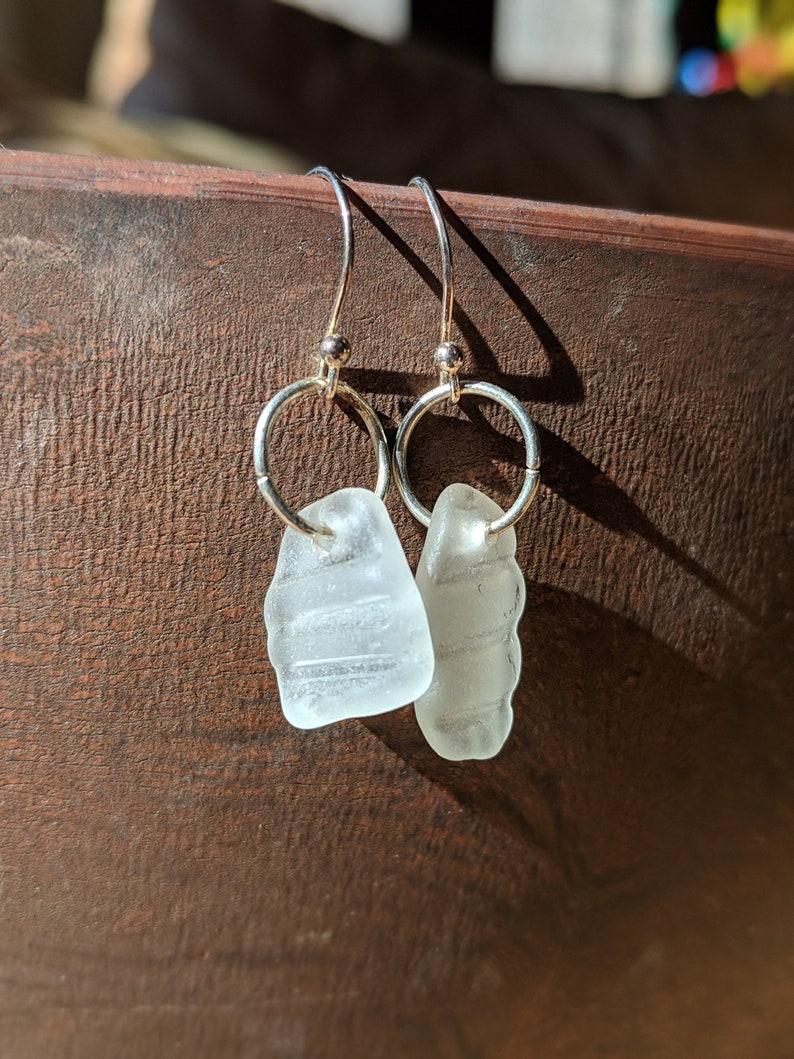 Pacific Sea Glass Earrings Textured Sea Glass Unique Sea image 0