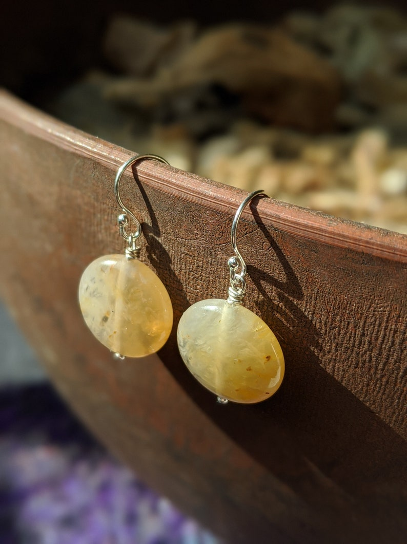 Yellow Jade Earrings Lucky Yellow Jade Coin Flat Round Jade image 0