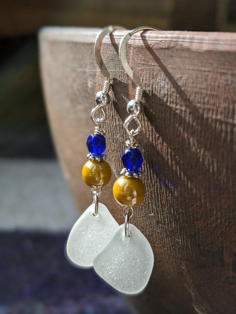 Pacific Sea Glass Earrings California Sea Glass Beach image 0