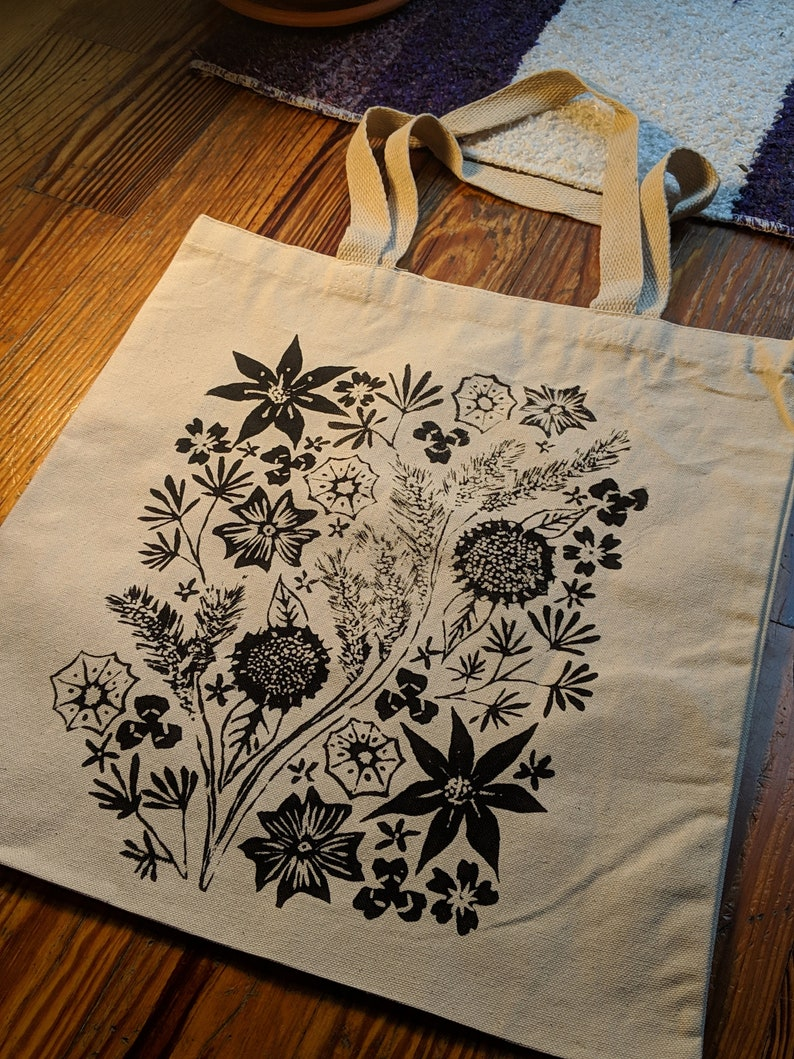 Flower Tote Bag Wildflower Tote Bag Flower Bag Flower image 0