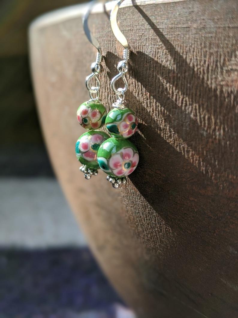 Cloisonné Bead Earrings Vintage Cloisonné Beads Glass Beads image 0