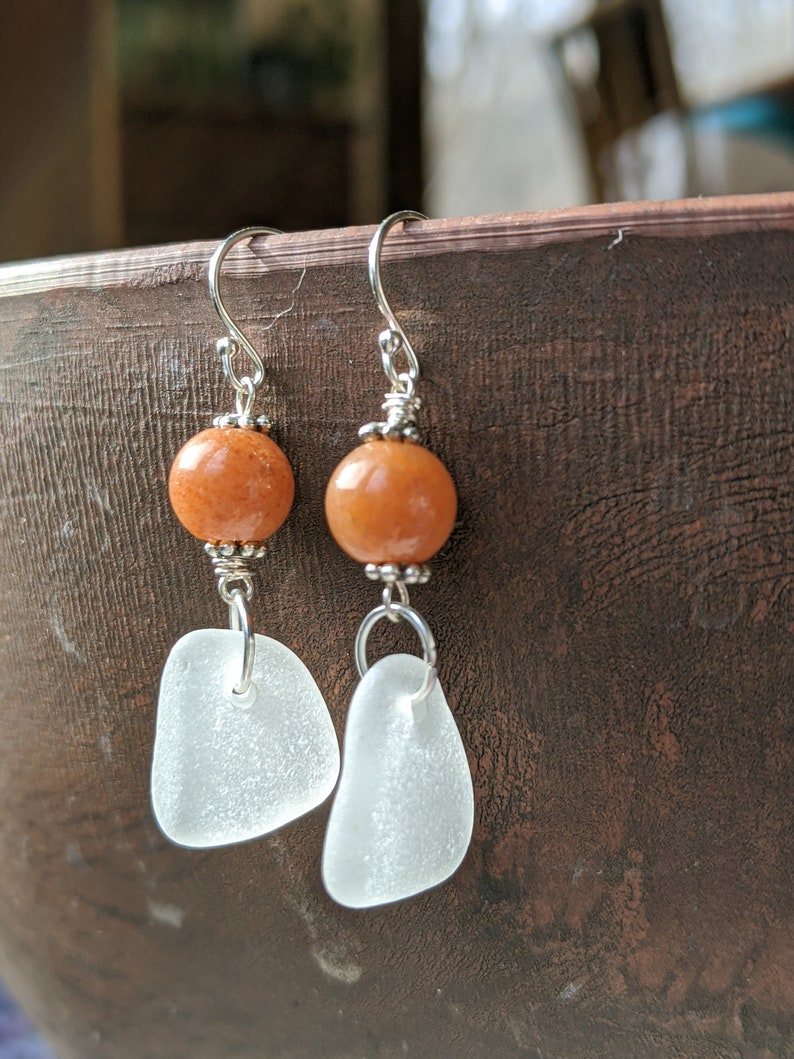 Pacific Sea Glass Earrings Found Glass Natural Sea Glass image 0