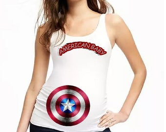 47249019e0422 Women s Maternity Captain America-Baby Americ Tank Top With SIde Runching