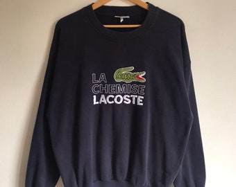 b5318a6d0a42 Vintage 80s 90s Lacoste La Chemise Big Logo Embroidery Crewneck Sweatshirt  Pullover Jumper Size 5 fit like L men s Made In Japan