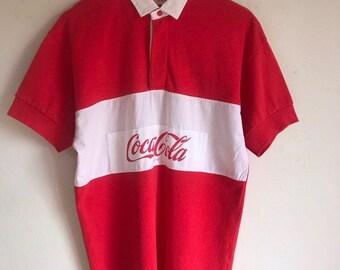 4e344dd91e Vintage 1990 Coca-cola rugby Button up polo shirt
