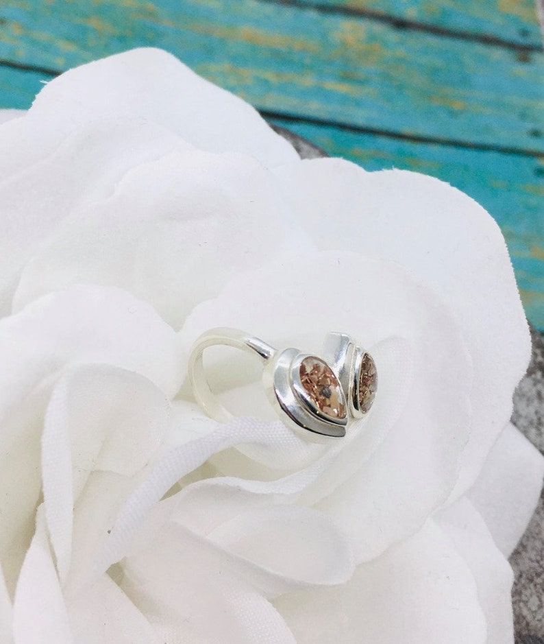 Cat Cremains Jewelry Sterling Silver Double Teardrop Cremation Ring Pet Memorial Gift Pet Loss Ring Pet Ashes Urn Dog Ash Ring
