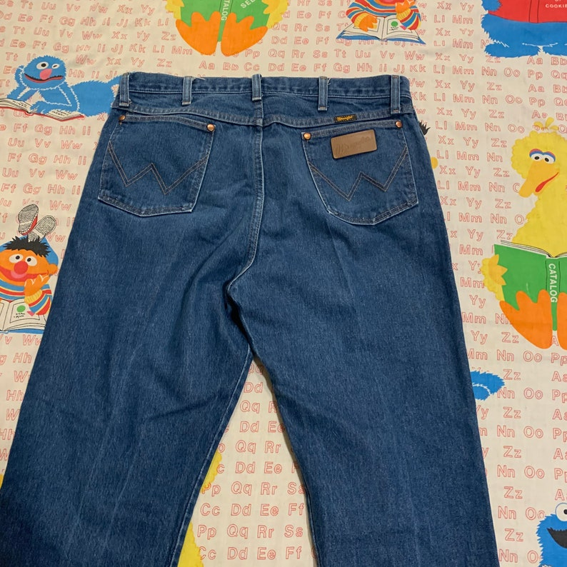 Vintage 90s Wrangler Blue Jeans 36 36\u201d 37 37\u201d Waist Vtg 1990s Fade Faded Denim Western Country Cowboy Cowgirl Jean High Rise Mom Waisted