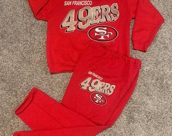 Vintage 90s San Francisco 49ers Sweatsuit size M Medium Vtg 1990s Forty Niners Football Sweatshirt Shirt Pants Sweatpants Suit NFL Red Gold
