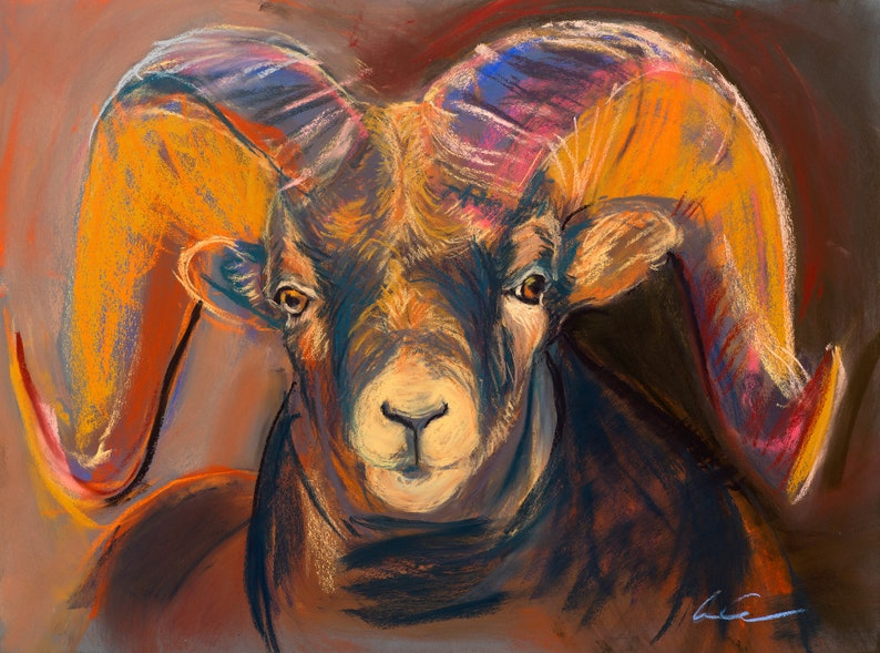Aries Horned Ram Animals Wildlife Painting Original image 0