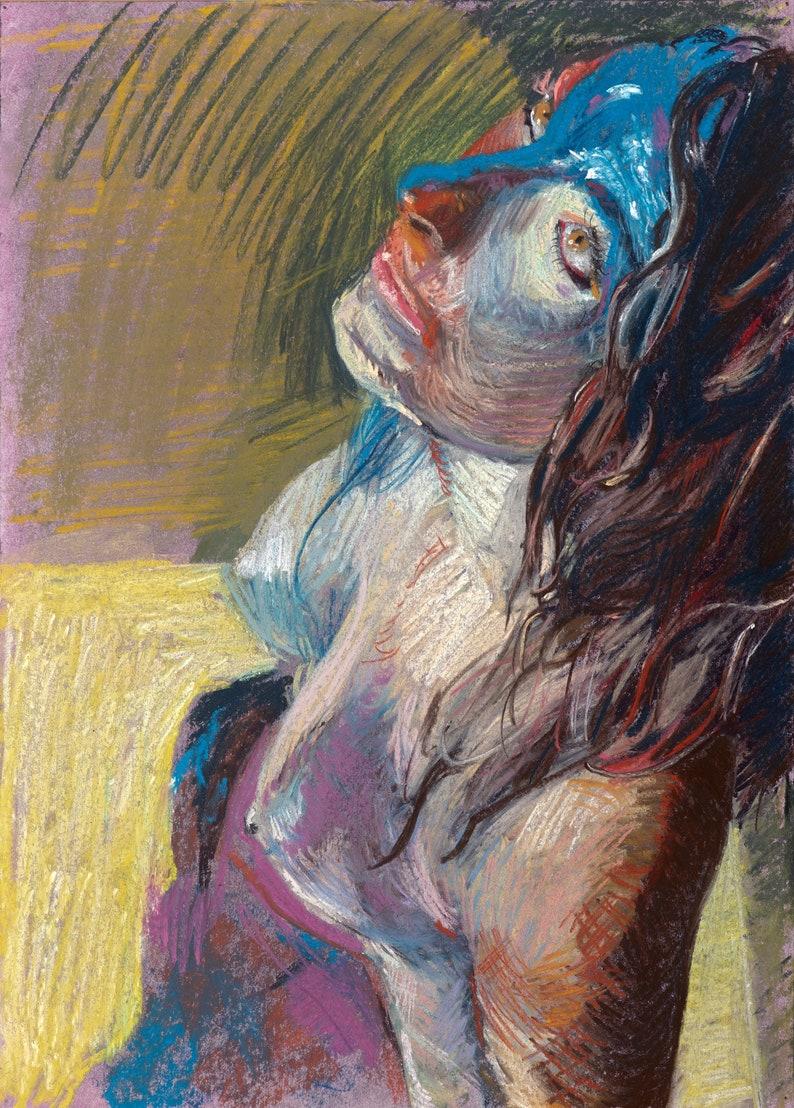 Portrait Painting Original Artwork Wall Art Nude Woman image 0