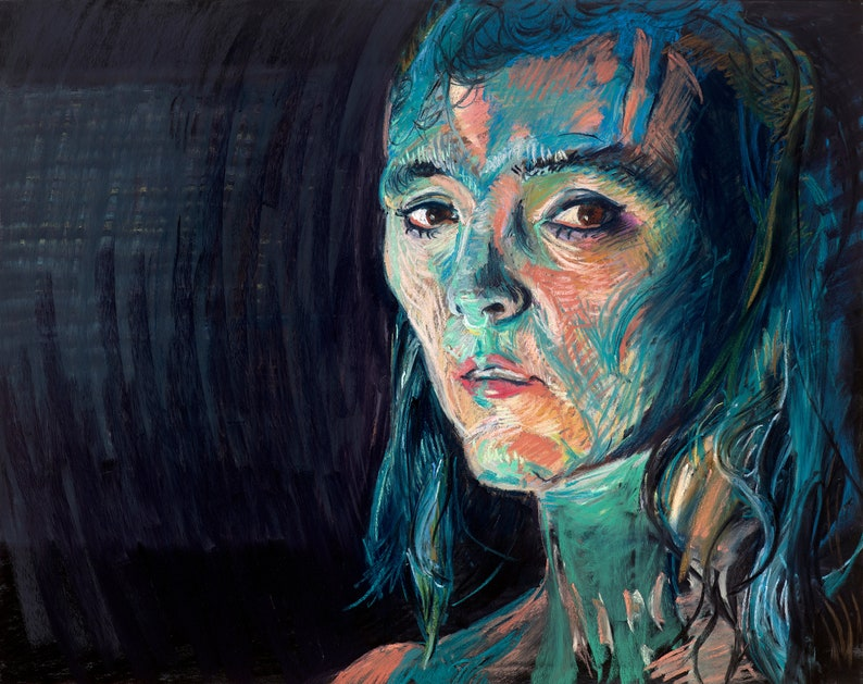 Portrait of Woman Covered in Paint Fine Art Print Artwork image 0
