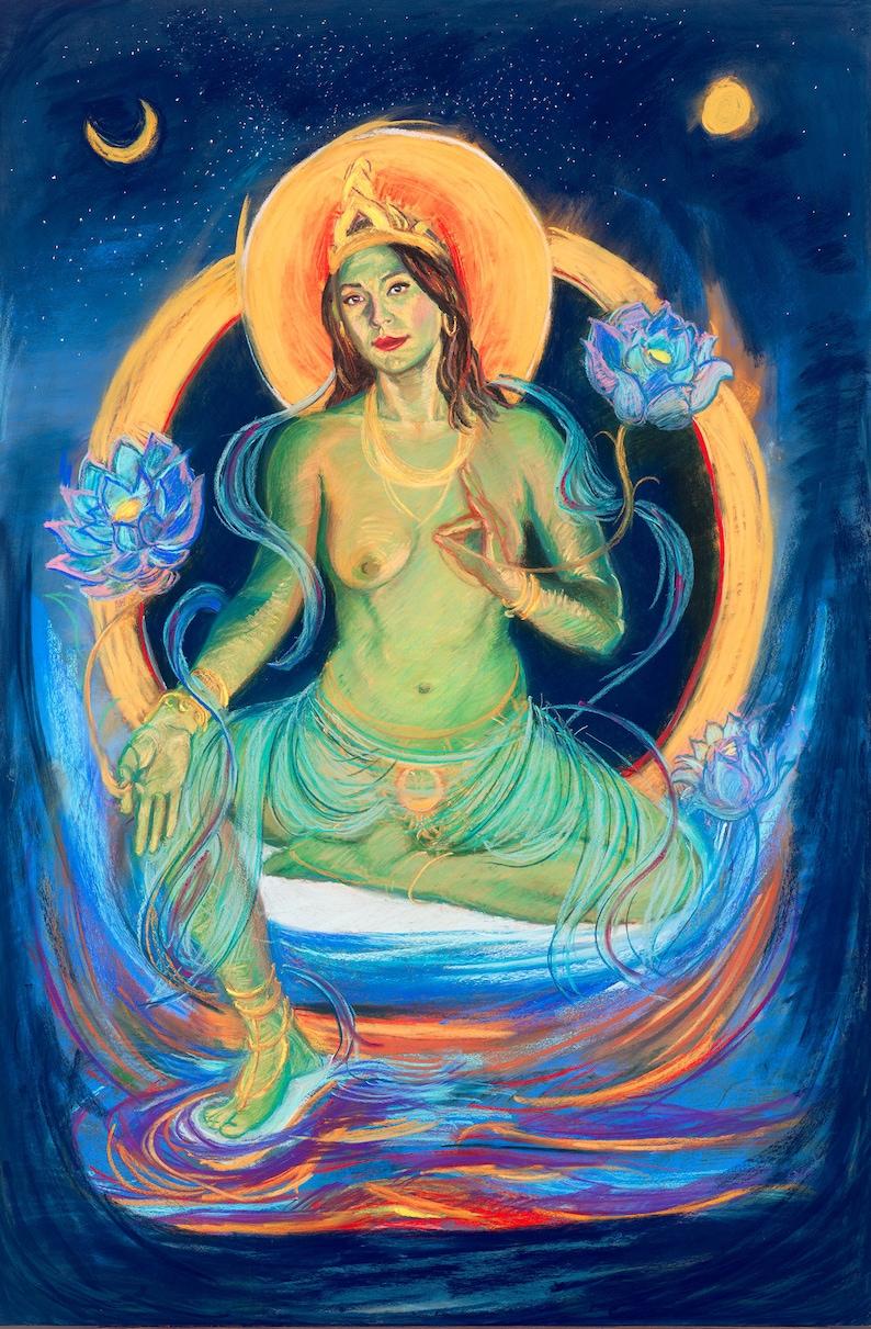 Green Tara Buddhist Artwork Goddess Thangka Wall Art image 1