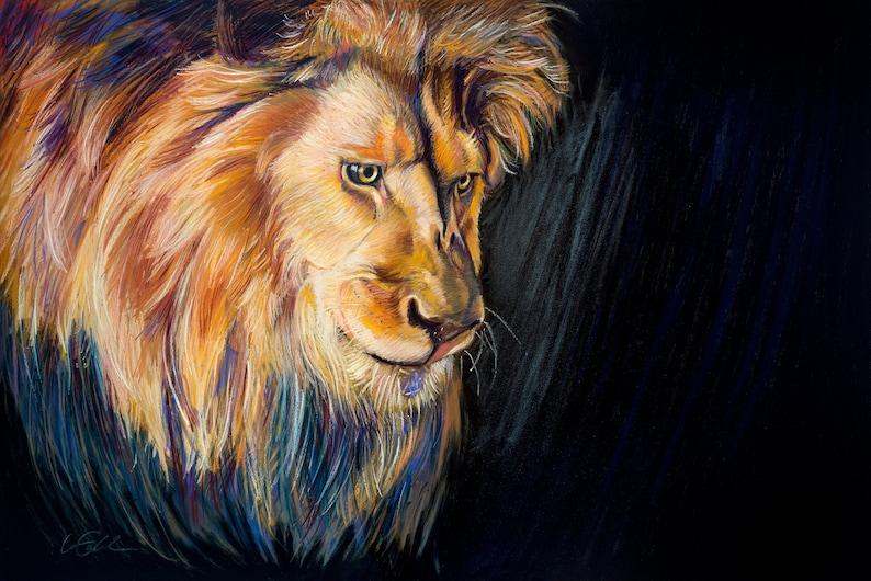 Lion Painting Animals Wildlife Art Original Artwork Art image 0