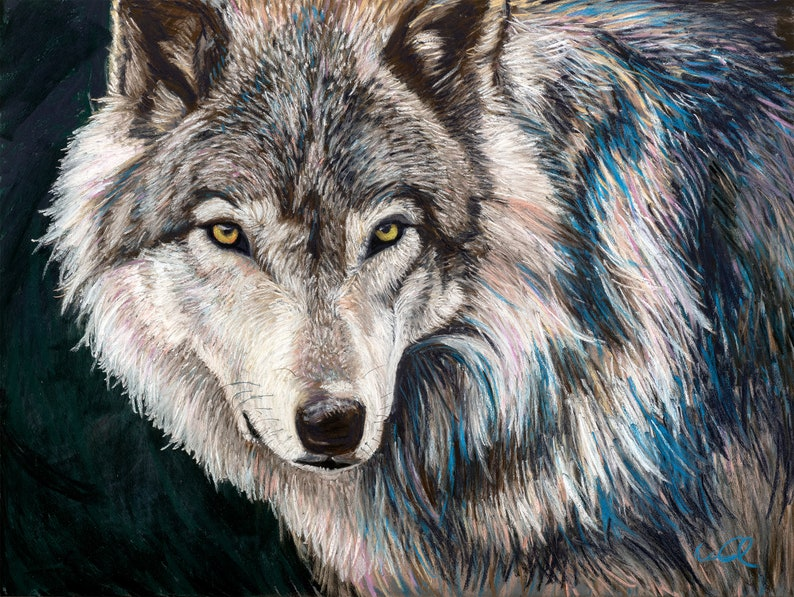 Wolf Painting Animals Wildlife Artwork Colorful Wall Art image 0