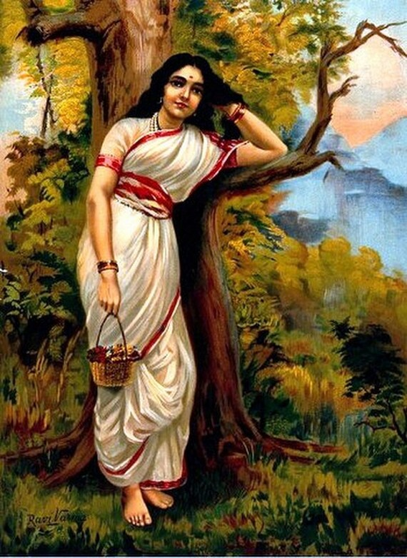 Raja Ravi Varma Wall Print with Frame Home Office Decor Gift New Indian Painting