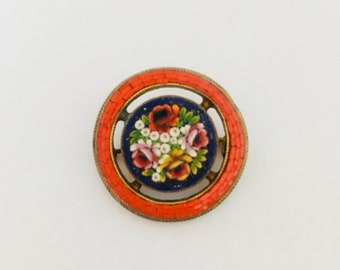 0909b8d63 Beautiful Italian Micro Mosaic Stone Glass Flower Peonies Daisy Forget Me  Not Vintage Antique Brooch