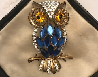 Stunning Vintage Wise Owl Brooch with colorful tiny prong set Czech Rhinestone set in Gold tone