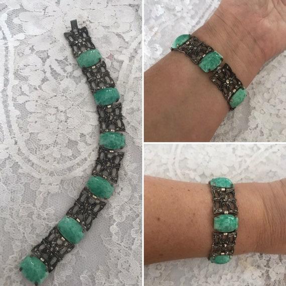 Egyptian Revival, Art Deco Bracelet, Peking Glass