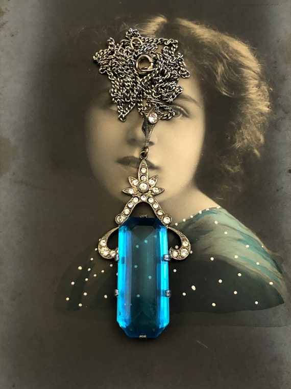 Art Deco Necklace, Outstanding Aquamarine Pendant,