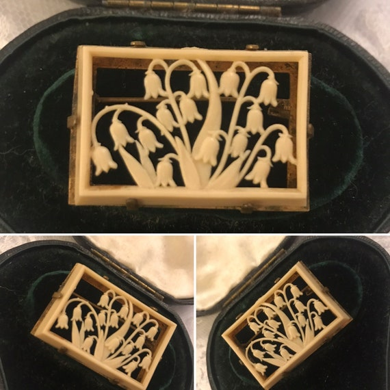 Celluloid brooch, Carved Celluloid, Early Plastic