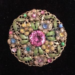 Large Edwardian 1915 beautiful czech multicoloured filigree rhinestone brooch