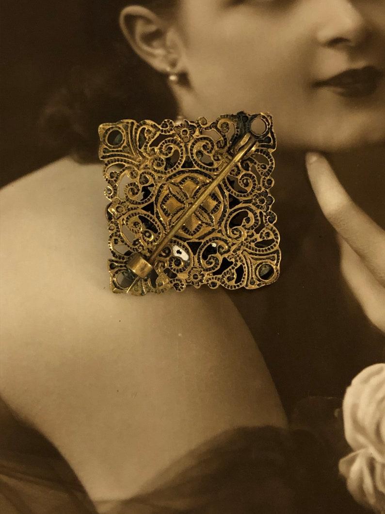 Paste Brooch Edwardian Rhinestone brooch Antique Edwardian Brooch Suffragette Movement Emerald Czech Filigree Lace Gold Amethyst