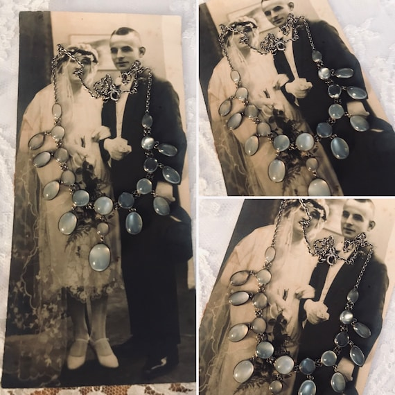 Moonstone Necklace, Festoon Necklace, Edwardian Si