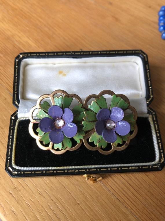 Suffragette, Edwardian Brooch, Violets, Gold, Suff