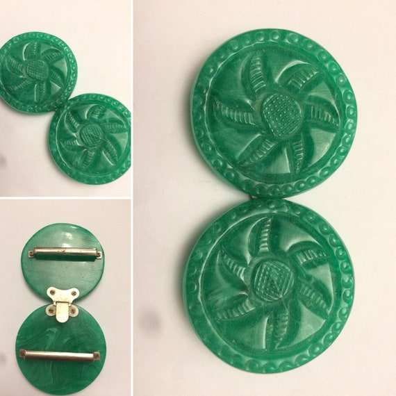 1930's Art Deco Celluloid Early Plastic Carved Jad
