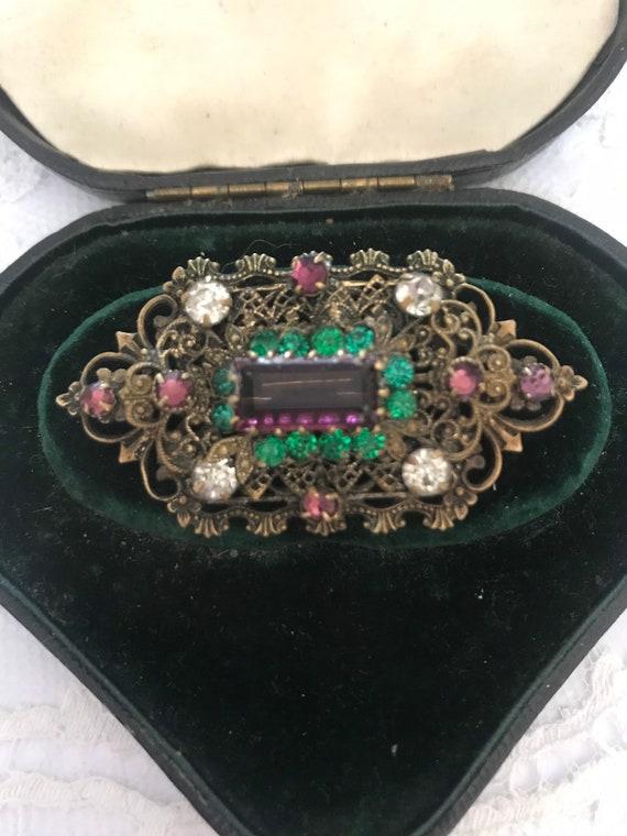 Suffragette brooch, Art Nouveau, Czech Filigree La